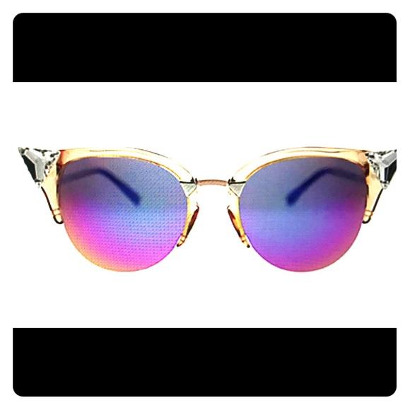 46ee2965002 NWT FENDI Crystal Tipped Cat Eye Sunglasses 52mm